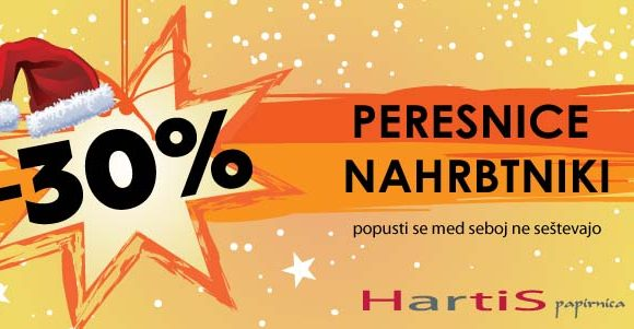 V Hartisu – 30% na vse peresnice in nahrbtnike